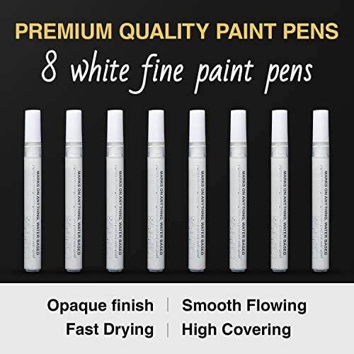 White Paint Pen for Art - 8Pack Acrylic White Paint Marker for Rock Painting, Stone, Wood, Canvas, Glass, Metal, Metallic, Ceramic, Tire, Graffiti, Paper, Drawing, Highlight Water-Based Paint Sets