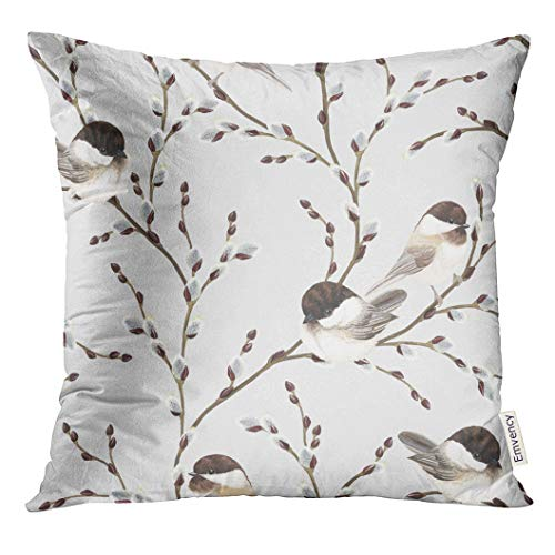 Emvency Throw Pillow Cover Brown Animal of Willow Branches and Birds Black Capped Chickadee on Gray in Vintage Watercolor Style Decorative Pillow Case Home Decor Square 16x16 Inches Pillowcase