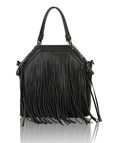 Fashion Bag Crossbody Canvas Black Hobo Tote Women's Shopper Handbag Fringed Shoulder q5PwOcx41