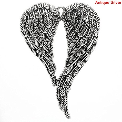 Angel Wings Pendants, 5 Pc LARGE Silver Tone 2 - Charm Wing Angle