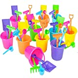 Beach Bucket and Shovel Set - (Pack of 12) Party Favor Sand Box Play Set and Beach Sand Pail Includes 3-1/4'' Mini Bucket, Shovel, Rake, Scoop Beach Sand Toy for Birthday Or Mermaid Theme