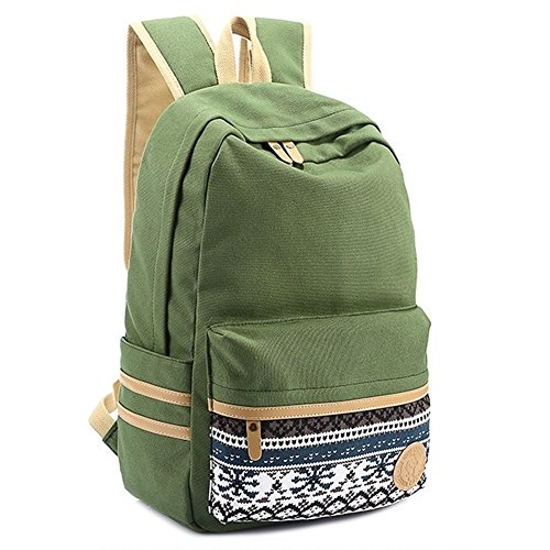 """Coofit® 15"""" Army Green Vintage Aztec Print Unisex Fashion Canvas School Backpacks"""