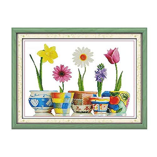 Cross Stitch Stamped Kits Cross-Stitching Pattern for Home Decor, 14CT Printed Fabric Embroidery DIY Crafts Needlepoint Kit Colorful Life of Flowers (Printed Kits,Home of Blessings) ()