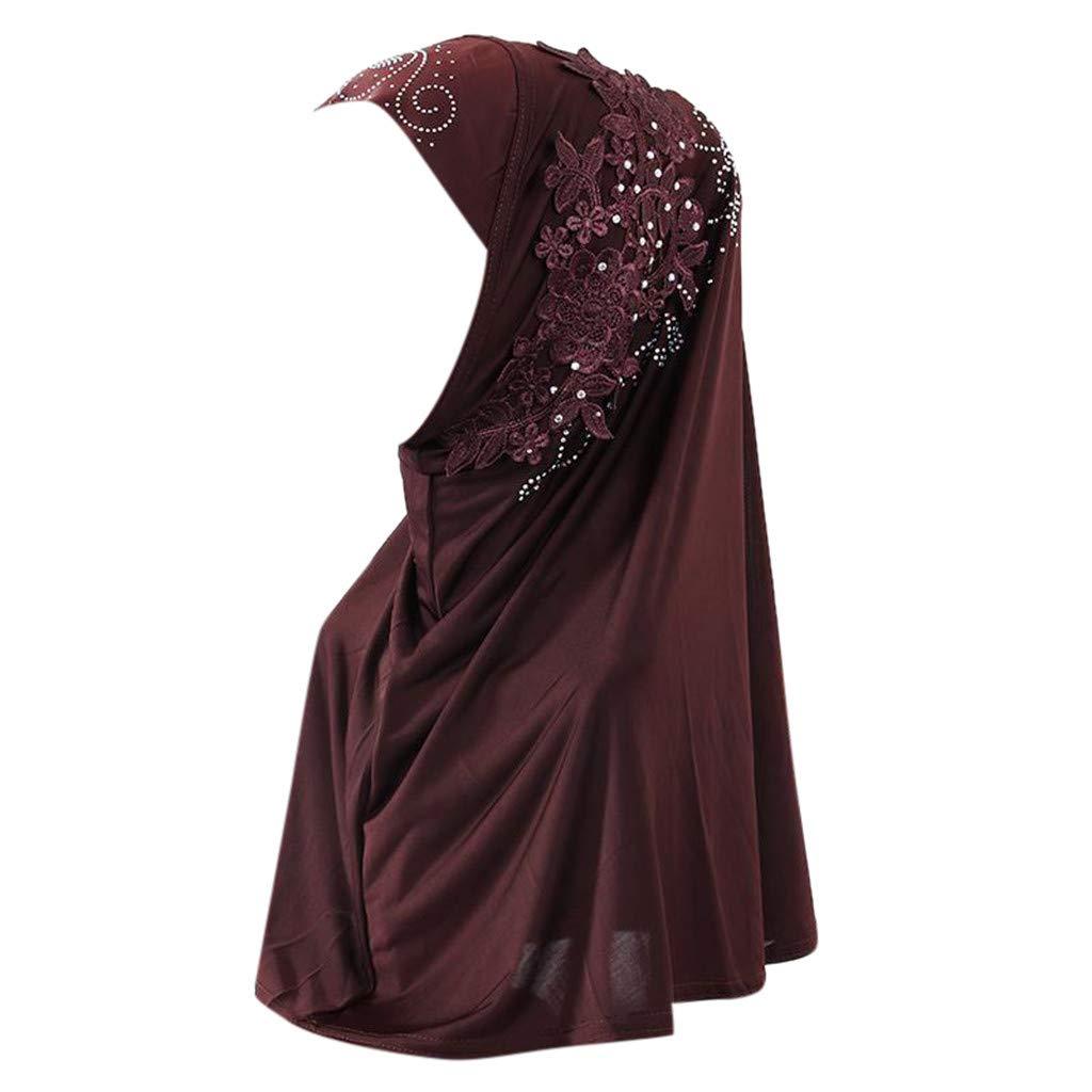 Coedfa✿ Hijab Double Loop Slip On Scarf Pull Over Crepe Convenient Shawl Headscarf Hair Loss Head Scarf Hijab Coffee
