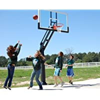 Pro Dunk Platinum: In-Ground Adjustable Outdoor Basketball Goal Hoop with Regulation-Sized 72 Inch Glass Backboard Adjustable from 5.5 Feet for Home Courts and Institutions