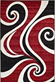Summit ZD-1WMV-TMU8 30 Red White Swirl Area Rug Modern Abstract Many Sizes Available , DOOR MAT 22 inch x 35 inch