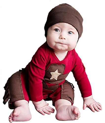 StylesILove Infant Toddler Baby Boy Sheriff Cowboy Fringed Photo Props Romper and Hat 2-piece