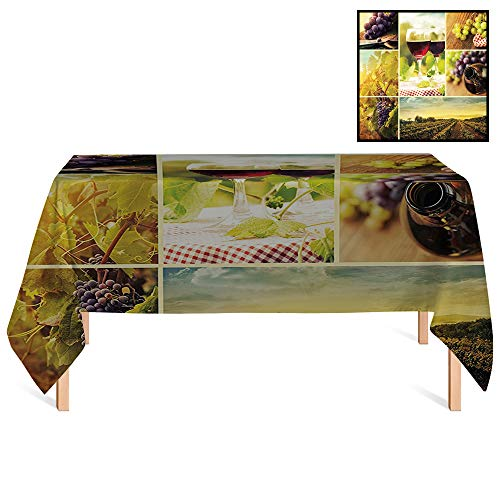 SATVSHOP Tablecloth /55x55 Square,Home Rustic Style Collage of Wine Glass Grapes and Vineyard Qualified Harvest Village Art Green Red.for Wedding/Banquet/Restaurant.
