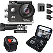 REMALI CaptureCam 4K Ultra HD and 12MP Waterproof Sports Action Camera Kit with Carrying Case, 3 Batteries, Dual Battery…