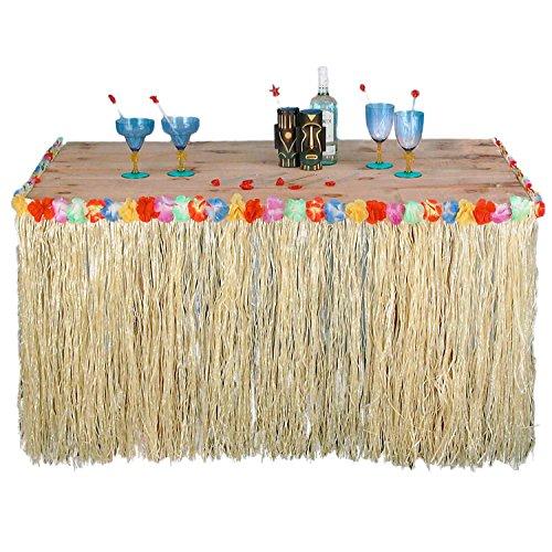 (Forum Novelties Hawaiian Luau Party Fringed Table Skirt with Hibiscus)