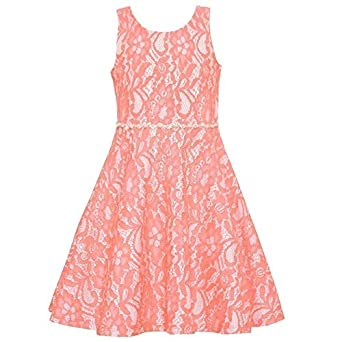 26022c9f5 Amazon.com  Rare Editions Little Girls Coral Floral Lace Back Bow ...