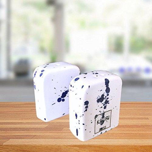 Kauri Ceramic Salt Shaker Set - White Splatter Salt & Pepper Shakers for Cooking and Kitchen Decor by Kauri (Image #7)
