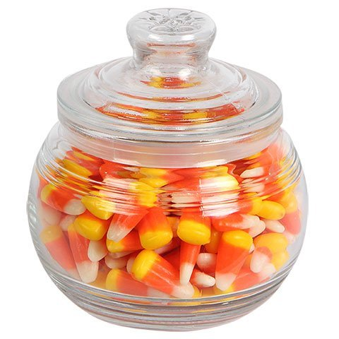 Glass Candy Jar with Ribbed Accents and Tight-Sealing Lid, 19 oz., 4.5 inches -