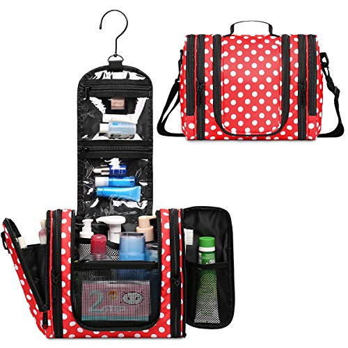 WANDF Expandable Toiletry Bag Hanging Dopp Kit TSA Approved Bottles Water Resistant (Red Polka Dots)