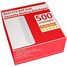 Splendoress #10 Security Mailing Envelopes Strip & Self Seal - Security Tinted - no 10 Business White Letter Legal Envelope - 500 Count - Size 4-1/8 x 9-1/2 Inches