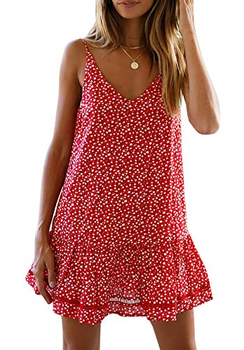 Women's Bohemian Floral Tassel Trim Ruffle Hem Spaghetti Strap Cami Dress Red