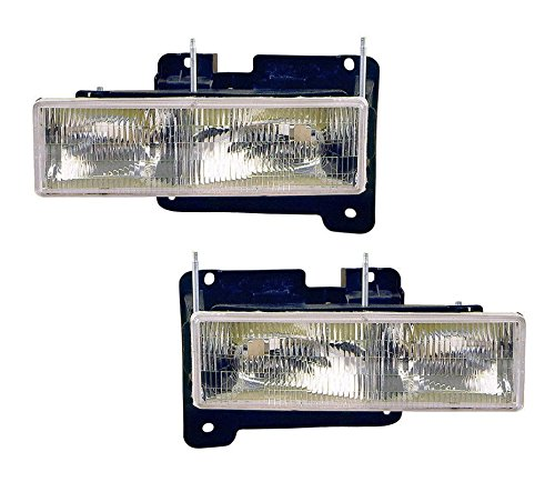 Fits 88 89 90 91 92 93 94 95 96 97 98 Chevrolet GMC Truck Headlight Pair Set NEW 92-99 Blazer Suburban Tahoe Yukon Driver and Passenger Front - New Chevrolet Suburban Headlight