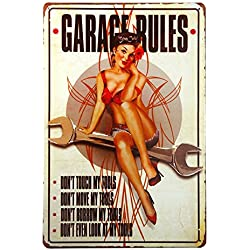 DL-Garage Rules Pin Up Girl Sign Great tool sign for the Garage or Shop with just the right rules
