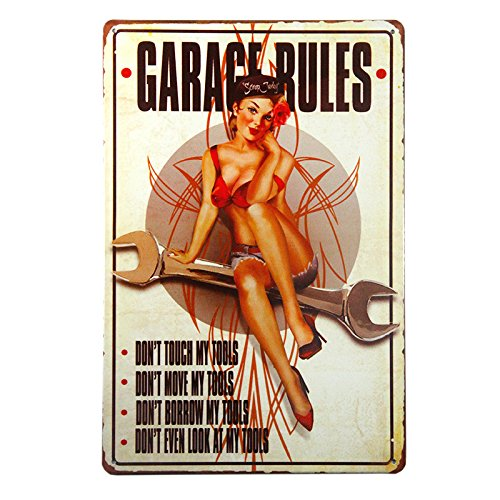 dingleiever DL-Garage Rules Pin Up Girl Sign Great Tool Sign for The Garage or Shop with just The Right Rules