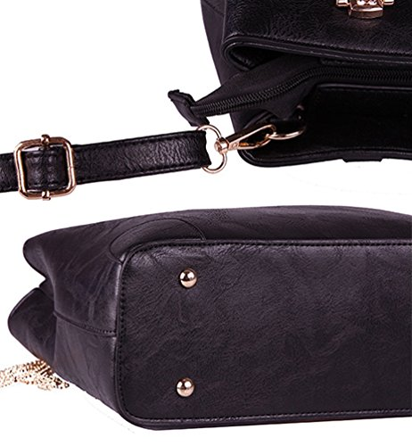 YouPue Stilvolle Frauen Große Handtasche PU Leder Henkeltaschen Elegant Schulterbeutel Schwarz