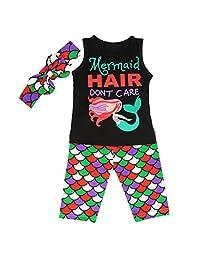 Camidy 1-6T Toddler Kids Girl Mermaid Cute Vest Shirt Top+Shorts+Headband Outfits Set