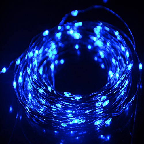 hahome waterproof led string lights33ft 100 leds indoor and outdoor starry lights with power supply for christmas wedding and party decorationblue