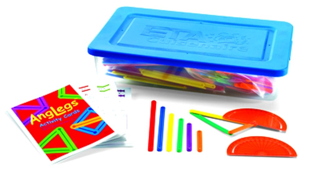 hand2mind AngLegs Geometry Shape Kit with Classroom Activity Cards and Protractors (Pack of 432) by hand2mind
