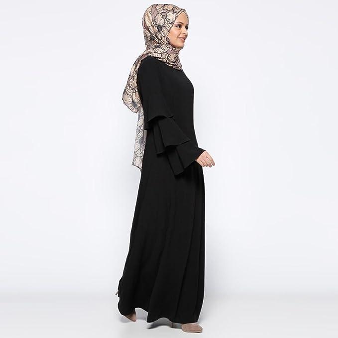 fffe3e7e57 Amazon.com  Fiaya Muslim Dress Women s Plus Size Layered Flare Sleeve Islamic  Abayas Long Maxi Dress  Sports   Outdoors