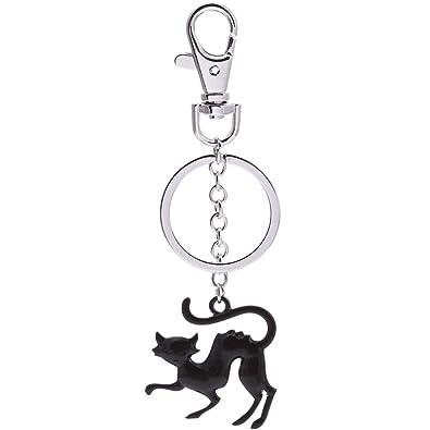 senfai Jewelry accesorios metal Llavero gato negro llavero ...