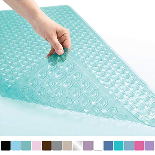 Gorilla Grip Original Patented Bath, Shower, Tub Mat, 35x16, Machine Washable, Antibacterial, BPA, Latex, Phthalate Free, Bathtub Mats with Drain Holes and Suction Cups, XL Size Bathroom Mats, Green from Gorilla Grip