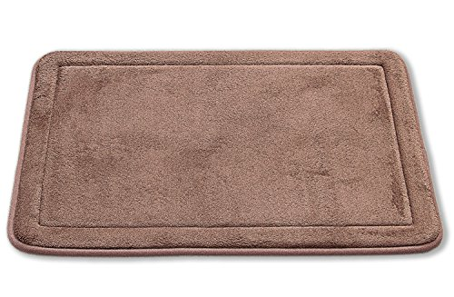 "Comfortable Non-Slip Luxurious Soft Memory Foam Bath Rug Mat, 17"" x 24"", Set of 2 (Brown) - EASY CLEAN/CARE - The durable material and color will not fade despite many washings. The material will not shrink or turn rough after a wash, which will keep your bath math looking like new. Wash in cold water separately with mild soap or detergent and then hang to dry or air dry flat. Do NOT bleach, use the dryer or put it in hot water NON-SLIP SKID RESISTANT - Ultra-soft contouring memory foam non-slip skid resistant backing help protect your feet from the cold floor and feels great on your feet. The non-slip feature keeps the bath rug in place, even after it has gotten wet SIZE - These bath rugs measure 17"" x 24"". Perfect size to put around your toilet, shower, bathrooms, restrooms, vanity, motor home, dorms, kitchen and even living room floors - bathroom-linens, bathroom, bath-mats - 51jbVffc5uL -"