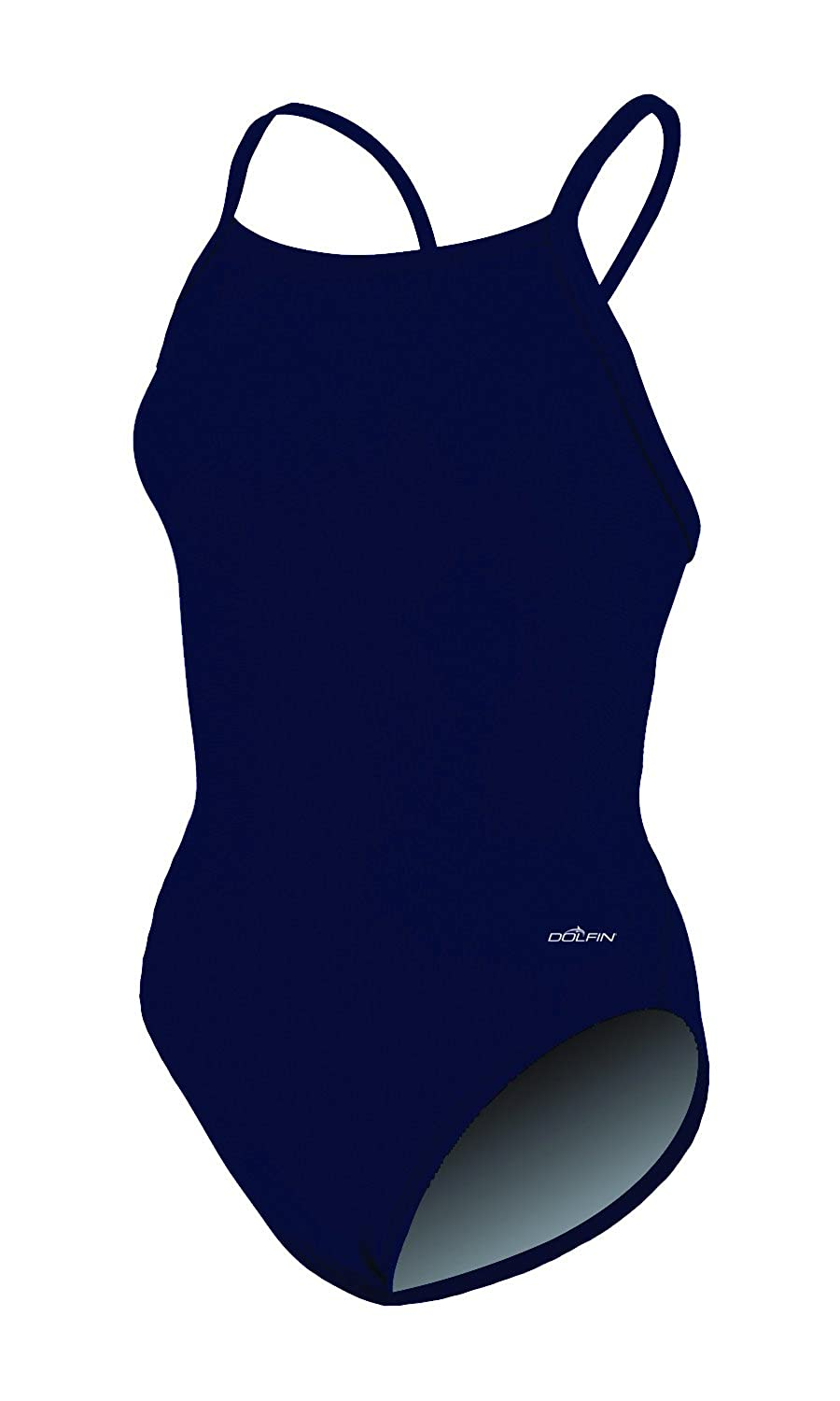 Dolfin Womens Solid V-2 Back One Piece Swimsuit
