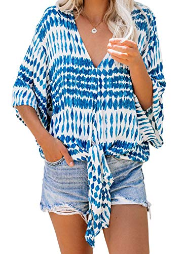 Tiksawon Womens V Neck Chiffon Blouses Fashion 2019 Work Blouses Flare Sleeve Floral Tops Casual Flowy Shirts Blue L