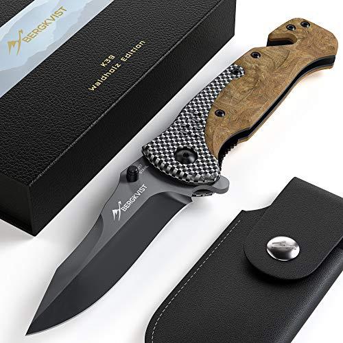 BERGKVIST® Klappmesser 3-in-1 K39 Waldholz Taschenmesser I scharfes Messer mit Holzgriff I Survival-Messer & Outdoor…