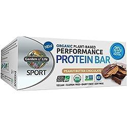 Garden of Life Organic Sport Protein Bar, Vegan, Peanut Butter Chocolate,12 Count