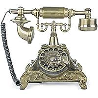 LNC Bronze LNC Retro Vintage Antique Style Rotary Dial Desk Telephone Phone Home Living Room Decor