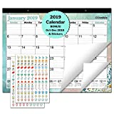"Large Monthly Deskpad Calendar 2018-2019: 17.75 x 13.75"" Wall Hanging or Desktop Desk Table Top with Planner Stickers (Colorful), USE Now from October 2018-15 Colorful Monthly Designs, by Cranbury"