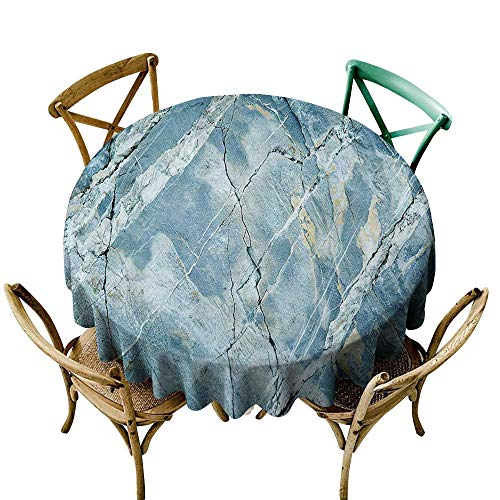 one1love Fashions Table Cloth Marble Exquisite Granite Stone Architecture Floor Artistic Nature Faded Rock Picture for Events Party Restaurant Dining Table Cover 35 INCH Light Blue Grey
