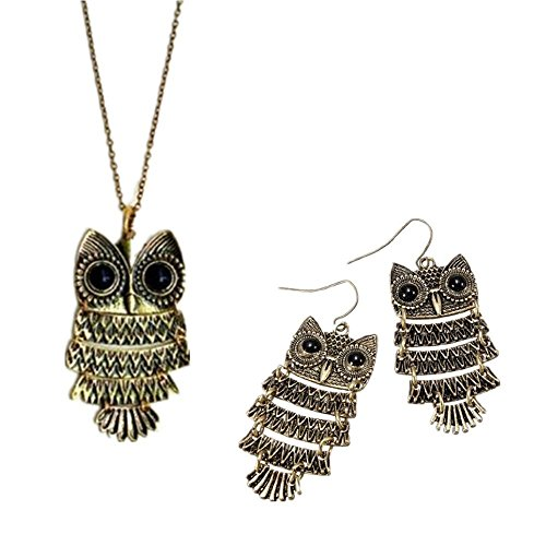 - Necklace + earring set - TOOGOO(R)Vintage Antique Bronze Owl retro black owl eyed necklace + earring pendant jewelry