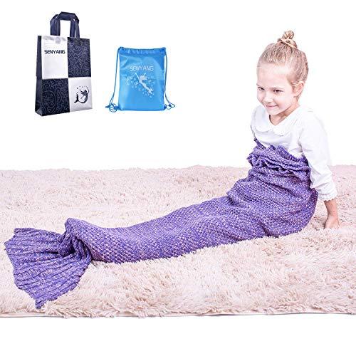 Mermaid Tail Blanket – Mermaid Blanket for Girls,All Seasons Soft and Warm Sleeping Mermaid Blanket for Kids Best Choice for Girls Gift Christmas Gift (Kids Purple)