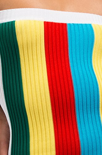 Bodycon Short Stretch Shoulder Ribbed Mini Fitted AKIRA Rainbow White Women's Dress Sleeve Colorblock Off Multi xXxqY8z