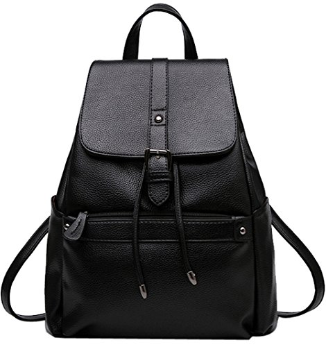 School Leather Coofit Backpack Backpack Casual Shoulder Women Daypack Backpacks Schoolbag Black Girls Casual B8qSOwxx5