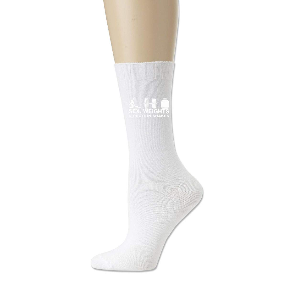 Men High Ankle Cotton Crew Socks Sex Weights Protein Shakes Casual Sport Stocking