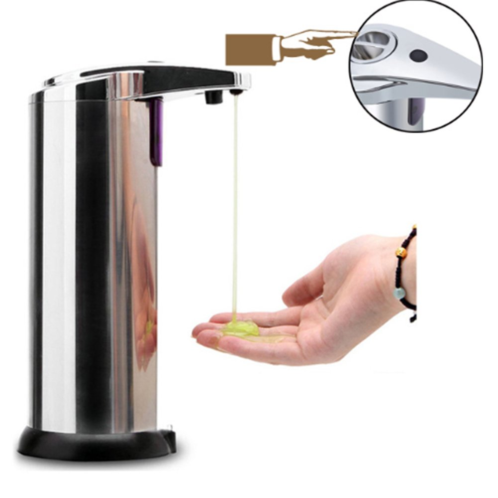 Soap Dispenser Touchless Stainless Steel Automatic Soap Dispenser Hands Free IR Infrared Motion Sensor For Kitchen Bathroom