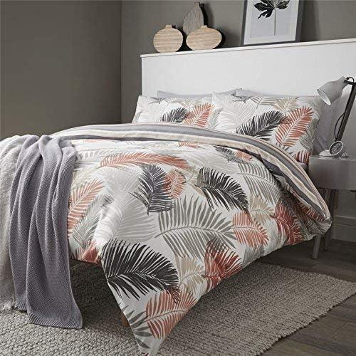 Botanisch Palme Blätter Doppel Bettbezug /& Kissenbezug Set Wendbar
