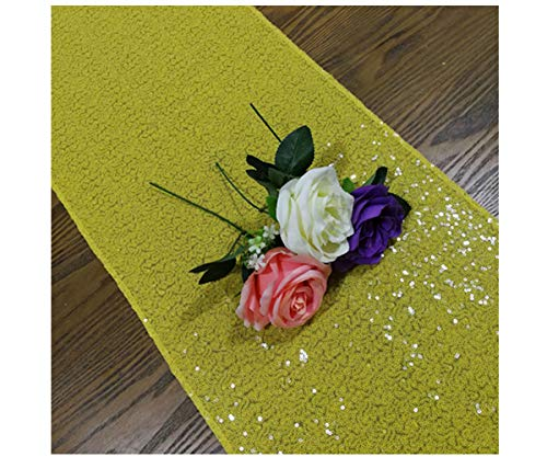 ShinyBeauty Yellow Table Runners Pack of 2 Sequin Table Runners 12inx108in Baby Birthday Decorations ()
