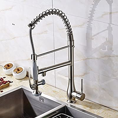Senlesen Commerical Pull Down Kitchen Faucet,Single Handle Kitchen Sink Faucet with Spring Sprayer Brushed Nickel …