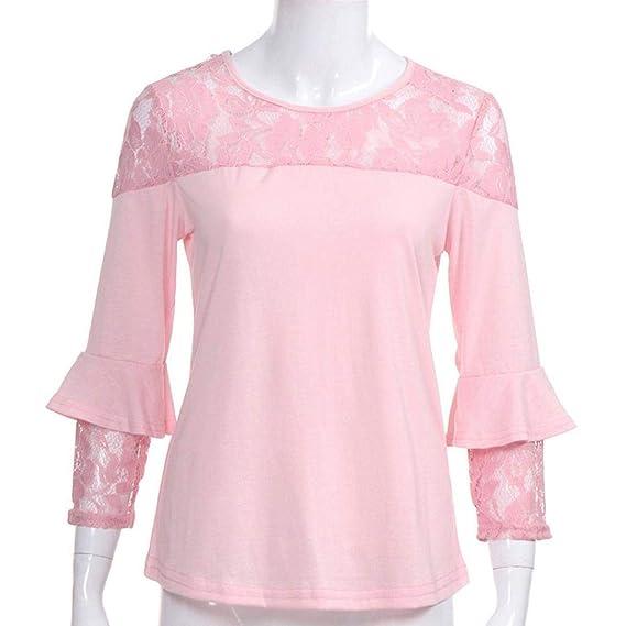 Mujeres Tops Rovinci Mujer Cómodo Elegante Moda Cordón Rosado Ahuecar Labor de Retazos Blusa Camisas Pull-Over Sayo Tops: Amazon.es: Ropa y accesorios