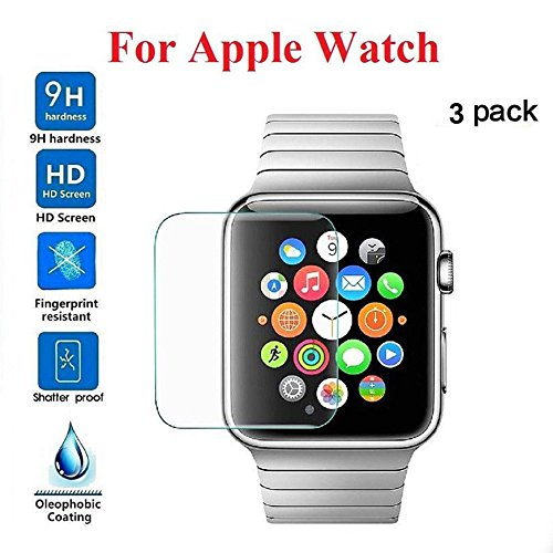 AIUSD Clearance , 3-PACK Tempered Glass Screen Protector For Apple Watch Series 1/2/3 38mm ()
