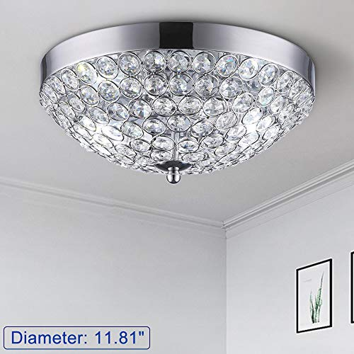DLLT Modern Crystal Light Fixture Ceiling Flush Mount, 2-Light Small Chandelier for Bedroom, Entryway, Foyer, Hallway, Closet Room, Dining Room, Chrome Finish E12
